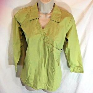 Duo Maternity Sz S Green Tunic Tie Waist  Shirt To